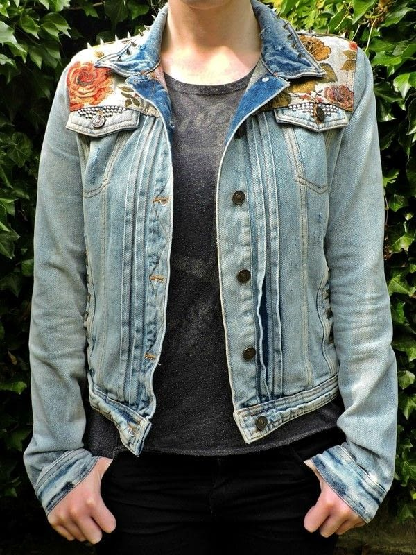 Floral world map patched studded upcycled blue distressed denim floral world map patched studded upcycled blue distressed denim jacket 1 gumiabroncs Choice Image