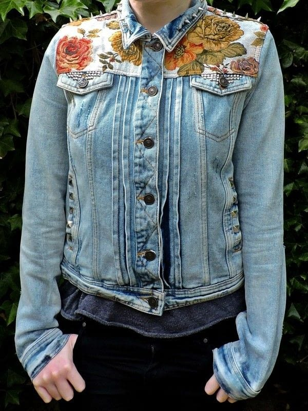 Floral world map patched studded upcycled blue distressed denim floral world map patched studded upcycled blue distressed denim jacket 1 2 gumiabroncs Choice Image