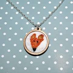 Mini Embroidered Fox Necklace