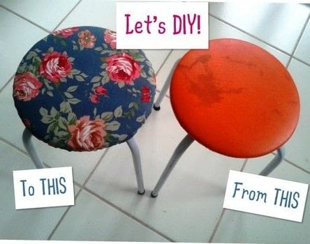 Refashion your stool! .  Free tutorial with pictures on how to make a stool in under 30 minutes by sewing with stool, sewing machine, and tissue. Inspired by vintage & retro and floral. How To posted by Schusterina.  in the Sewing section Difficulty: Simple. Cost: Cheap. Steps: 17