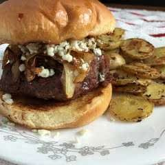 Pepper Jelly Burger With Caramelized Onions And Gorgonzola