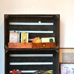 Wheeled Wooden Crate Shelf