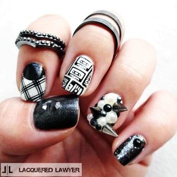 Edgy music themed mani. .  Free tutorial with pictures on how to paint an embellished nail manicure in under 60 minutes by nail painting with nail polish, nail polish, and nail polish. How To posted by Lacquered Lawyer.  in the Beauty section Difficulty: 3/5. Cost: 3/5. Steps: 5