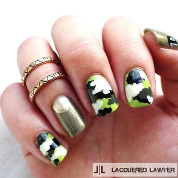 Easy camo nail tutorial. .  Free tutorial with pictures on how to paint patterned nail art in under 60 minutes by nail painting with nail polish, nail polish, and nail polish. Inspired by miley cyrus. How To posted by Lacquered Lawyer.  in the Beauty section Difficulty: Simple. Cost: Cheap. Steps: 6
