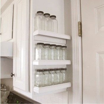 Quick way to spice-up your kitchen! .  Free tutorial with pictures on how to make a spice rack in 4 steps by constructing with trim. How To posted by Jennifer T.  in the Home + DIY section Difficulty: 3/5. Cost: Cheap.