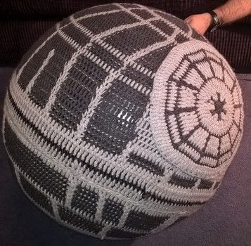 Giant Crochet Deathstar  .  Make an object plushie using wool, ball, and hooks. Inspired by star wars. Creation posted by Cassandra K.  in the Yarncraft section Difficulty: 3/5. Cost: 3/5.