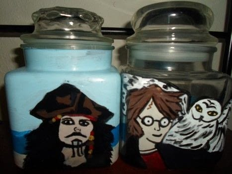 Painted jars .  Make a jar in under 60 minutes using paintbrushes and paints. Inspired by movies and anime & manga. Creation posted by Luna.  in the Decorating section Difficulty: Easy. Cost: Cheap.