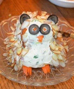 Homemade cheeseball .  Make a spread in under 15 minutes using cream cheese, carrot, and olives. Inspired by owls. Creation posted by rhino1.  in the Recipes section Difficulty: Easy. Cost: Cheap.