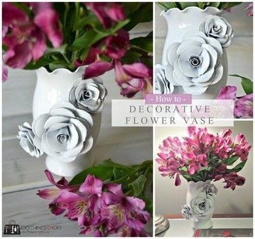 Decorative Flower Vase .  Free tutorial with pictures on how to make a paper planter in under 60 minutes by papercrafting with glass vase , hot glue, and cardstock. How To posted by Shelly @ 100Things2Do.ca.  in the Home + DIY section Difficulty: Simple. Cost: Cheap. Steps: 7