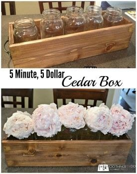 For $5 you can create this rustic cedar box - great for a windowsill herb garden, storage and organizing or just a beautiful accent .  Free tutorial with pictures on how to make a box in under 10 minutes using board, handles, and stain. How To posted by Shelly @ 100Things2Do.ca.  in the Home + DIY section Difficulty: Simple. Cost: Cheap. Steps: 7