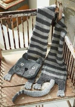 Knitted Animal Scarves, Mitts, and Socks .  Free tutorial with pictures on how to knit or crochet a stripy scarf in 8 steps by knitting with chunky wool, yarn, and knitting needles. Inspired by cats. How To posted by Ryland Peters & Small.  in the Yarncraft section Difficulty: 3/5. Cost: Cheap.