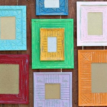 Up-style flimsy dollar store frames! .  Free tutorial with pictures on how to make a recycled photo frame in under 60 minutes by papercrafting and Papier-mâchéing with cardboard, frames, and americana decor chalky finish paint. How To posted by Mark Montano.  in the Papercraft section Difficulty: Easy. Cost: Absolutley free. Steps: 3