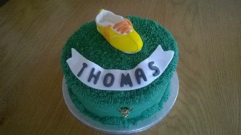 Football Boot Birthday Cake  .  Free tutorial with pictures on how to bake a vanilla cake in under 120 minutes by cooking, baking, decorating food, and cake decorating with vanilla, butter, and oil. Recipe posted by Super Madcow.  in the Recipes section Difficulty: 3/5. Cost: 3/5. Steps: 19