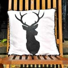 Stencilled Stag Cushion Cover