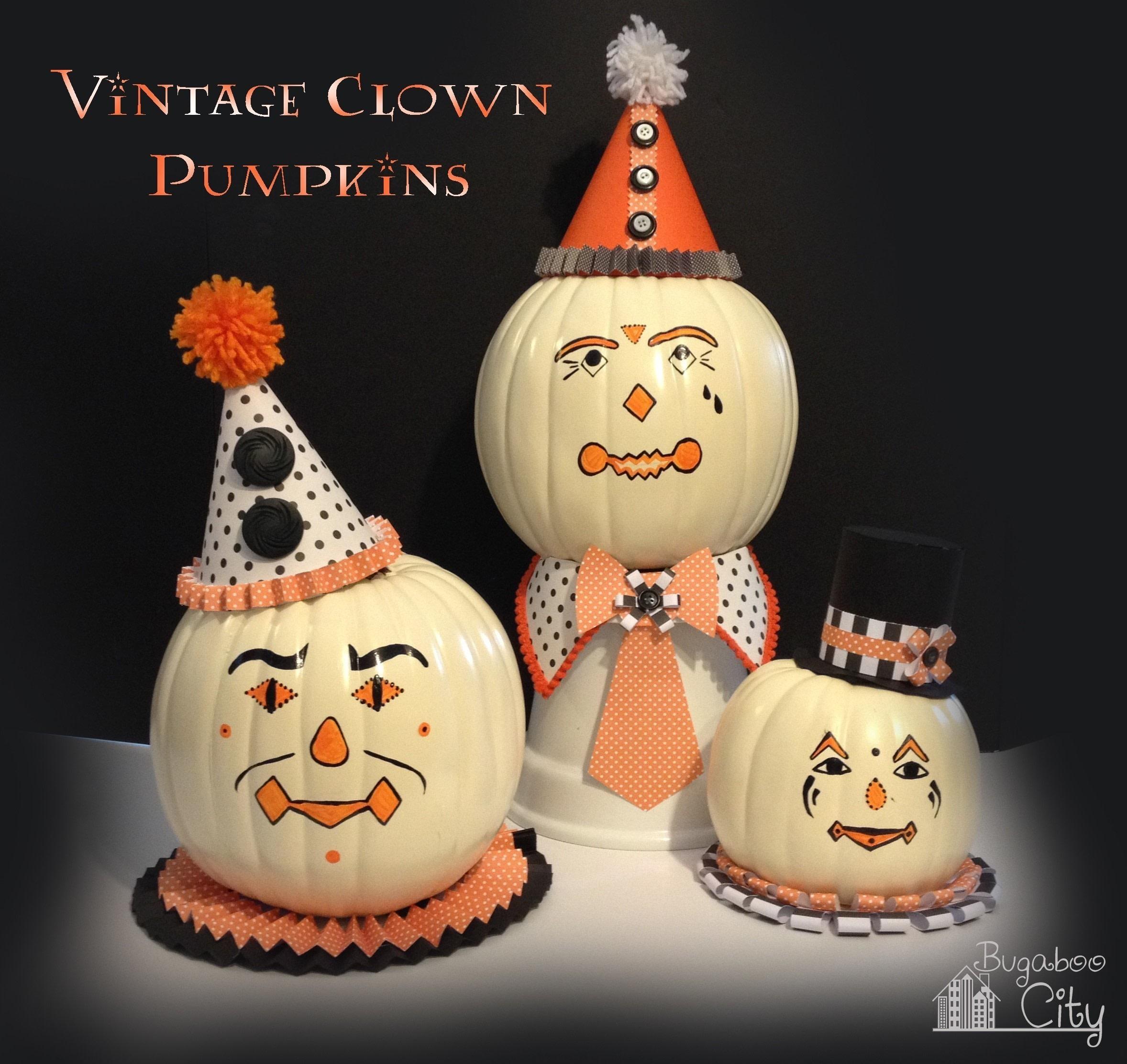 Vintage clown pumpkins how to decorate a pumpkin other for Clown dekoration