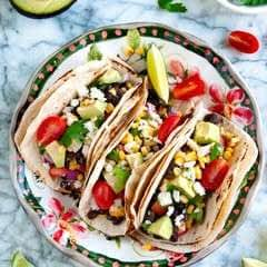 Grilled Yellow Corn And Black Bean Tacos