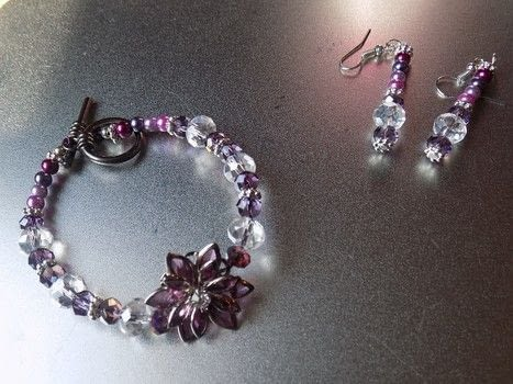 Flower focus charm and beads .  Bead a glass bead bracelet in under 30 minutes by jewelrymaking with bead, charms, and round beads. Inspired by flowers. Creation posted by lisa.swift.  in the Jewelry section Difficulty: Simple. Cost: Cheap.