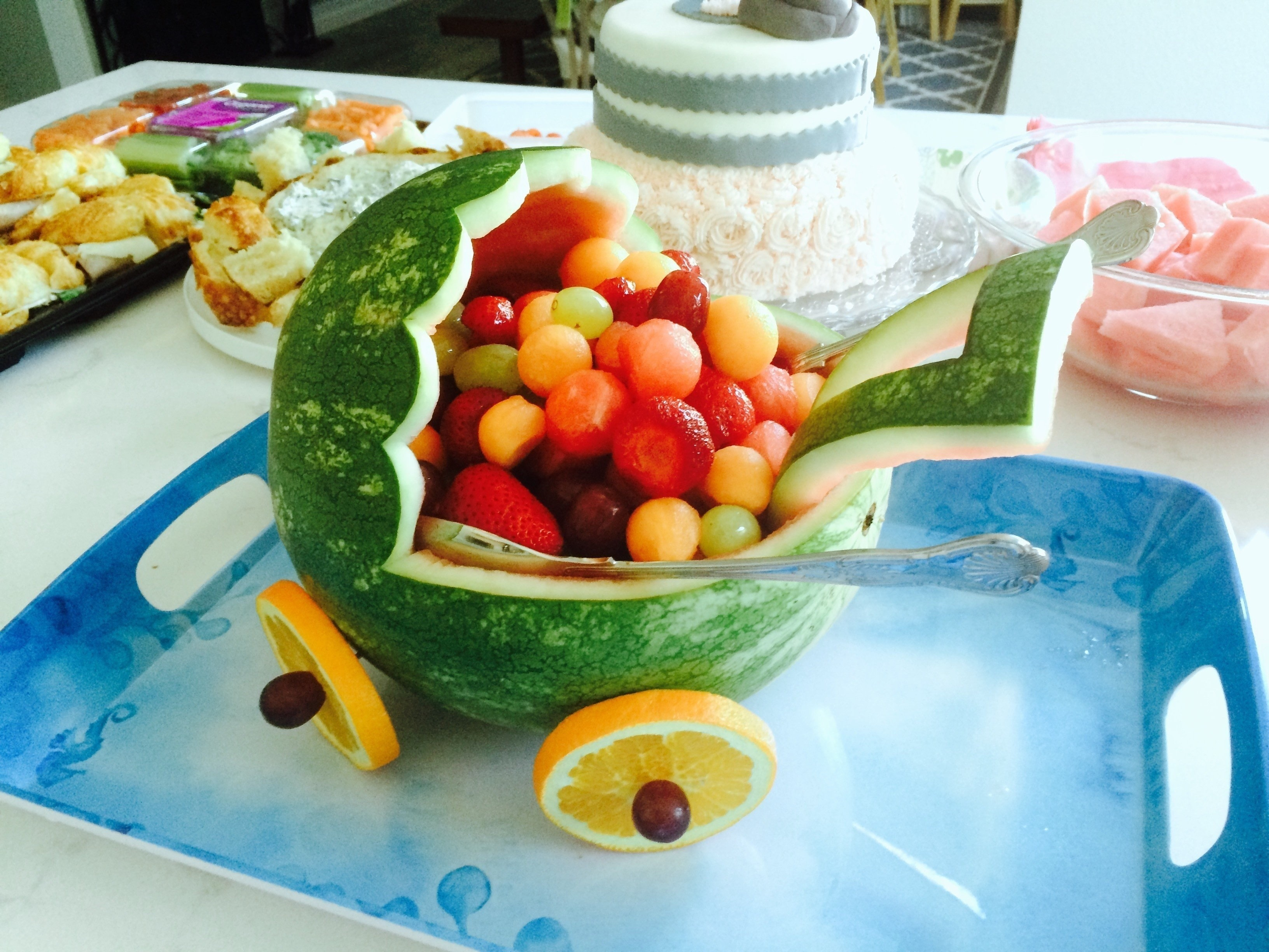 Baby Shower Fruit Salad Part - 30: Watermelon Baby Carriage · How To Make A Fruit Salad · Recipes On Cut Out +  Keep