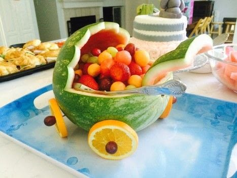 Get ready to wow everyone at your next baby shower! .  Free tutorial with pictures on how to make a fruit salad in under 120 minutes using watermelon, knife, and melon baller. Inspired by baby showers. Recipe posted by Dottidal.  in the Recipes section Difficulty: Simple. Cost: 3/5. Steps: 7