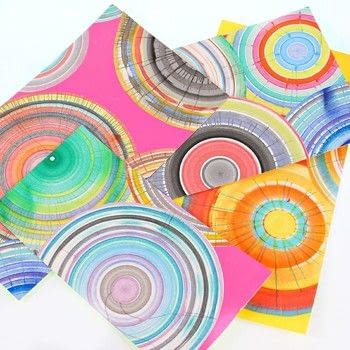 Make your own spin art machine! .  Free tutorial with pictures on how to create a piece of abstract or patterned art in under 15 minutes by creating with fan, americana acrylics, and tape. How To posted by Mark Montano.  in the Art section Difficulty: Easy. Cost: Cheap. Steps: 3