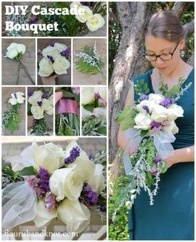 "How to create a whimsical floral ""cascade"" bouquet .  Free tutorial with pictures on how to make a bouquet in under 60 minutes using floral tape, shears, and ribbon. Inspired by weddings, flowers, and floral. How To posted by Flourish & Knot.  in the Other section Difficulty: Simple. Cost: 3/5. Steps: 9"
