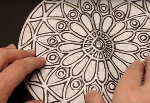 """This project uses color diffusing paper and watercolor markers to create a """"Stained Glass"""" Rose Window. .  Free tutorial with pictures on how to make a papercraft in under 25 minutes by creating with paper. Inspired by roses. How To posted by Dodi G.  in the Art section Difficulty: Easy. Cost: Cheap. Steps: 1"""