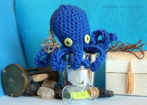 Tentacles Everywhere  .  Make an octopus plushie in under 120 minutes by yarncrafting, crocheting, and amigurumi with yarn and  buttons. Inspired by octopuses. Creation posted by Chudames.  in the Yarncraft section Difficulty: Easy. Cost: No cost.