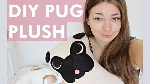 Make your own cute pug plush! .  Free tutorial with pictures on how to make a dog plushie in under 180 minutes using fleece, felt, and tacky glue. Inspired by pugs. How To posted by Lauren.  in the Sewing section Difficulty: Simple. Cost: Cheap. Steps: 1