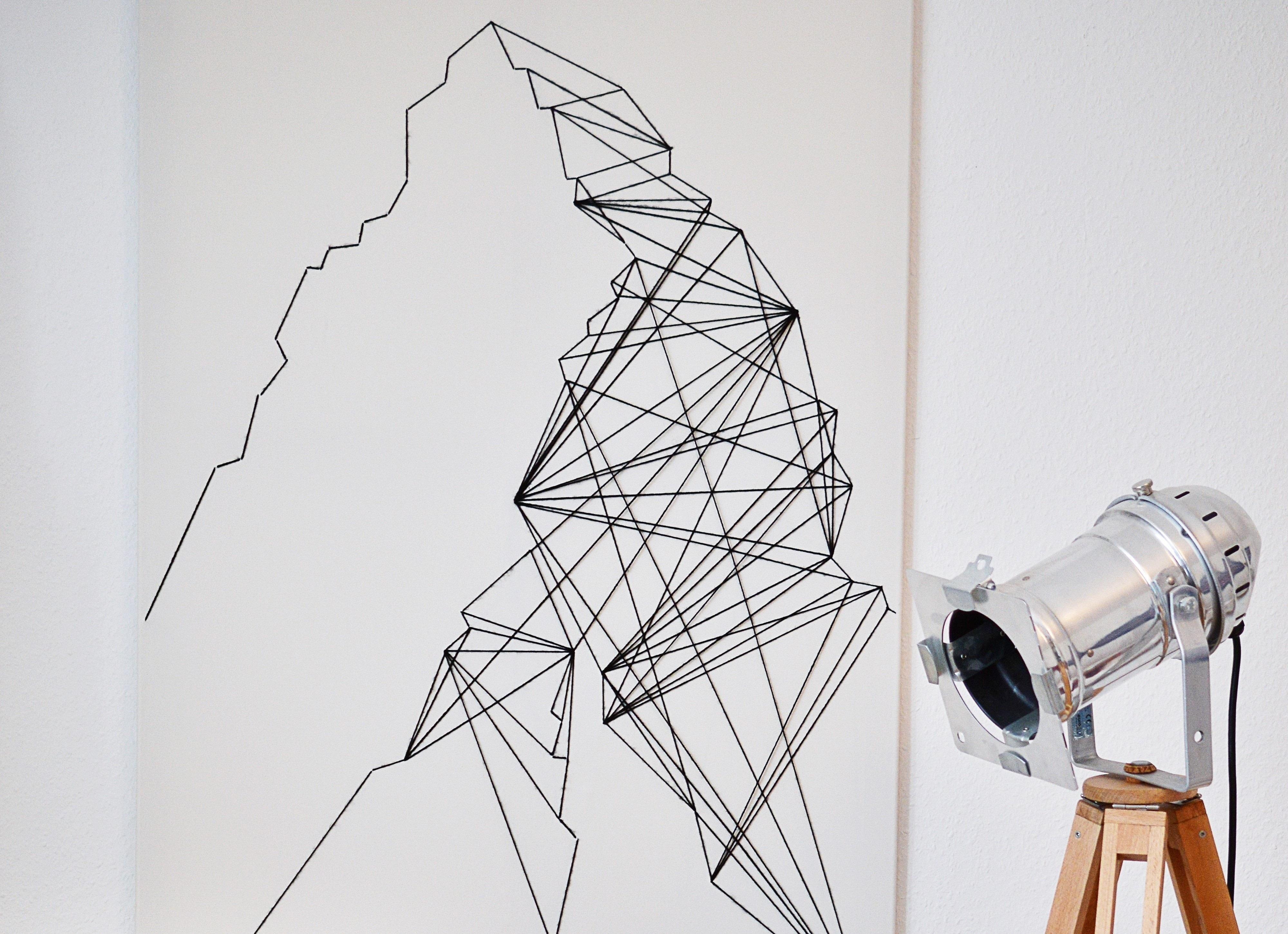 String Wall Art geometric wall art · how to make string art · needlework on cut