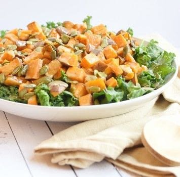 This kale salad with roasted sweet potatoes is one of my favorite salads! .  Free tutorial with pictures on how to cook a kale salad in under 45 minutes by cooking with kale, sweet potatoes, and olive oil. Recipe posted by Truffles and Trends.  in the Recipes section Difficulty: Easy. Cost: 3/5. Steps: 1