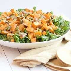 Kale Sweet Potato Tahini Salad