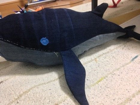 A whale made from some old jeans I had. .  Make a whale plushie in under 180 minutes using thread, sewing machine, and jeans. Creation posted by jodi.dobinsky.  in the Sewing section Difficulty: 3/5. Cost: Absolutley free.