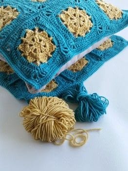 Make this sunny cushion cover with gorgeous yarn .  Free tutorial with pictures on how to crochet a granny square cushion in 9 steps by crocheting with merino, crochet hook, and yarn needle. How To posted by Spincushions.  in the Yarncraft section Difficulty: Simple. Cost: No cost.