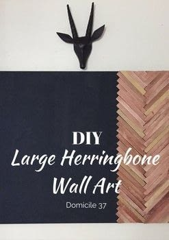 Modern herringbone art on a budget .  Free tutorial with pictures on how to make a hanging in under 180 minutes by woodworking and decorating with paint, paint brush, and wood. How To posted by Domicile 37.  in the Home + DIY section Difficulty: Simple. Cost: Cheap. Steps: 7