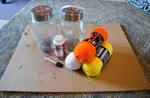 Make fun candy corn luminarias for fall and Halloween! .  Free tutorial with pictures on how to make a decorative light in under 90 minutes by embellishing and yarncrafting with scissors, yarn, and jar. How To posted by Albion G.  in the Other section Difficulty: Easy. Cost: No cost. Steps: 7