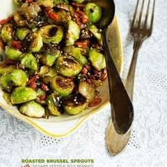 Roasted Brussel Sprouts With Sesame Seeds And Goji Berries