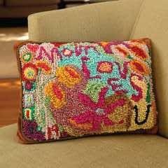 """Mom Loves """"U"""" Yarn Hooked Pillow"""