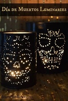 Add some spooky style your your home! .  Free tutorial with pictures on how to make a lantern in under 120 minutes using tin, nail, and hammer. Inspired by halloween, skulls & skeletons, and sugar skulls. How To posted by Flourish & Knot.  in the Home + DIY section Difficulty: Simple. Cost: Absolutley free. Steps: 3