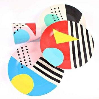 Paint your own 80s inspired Memphis plates! .  Free tutorial with pictures on how to make a plate in under 120 minutes by creating, embellishing, and stencilling with craft knife, make up, and contact paper. How To posted by Mark Montano.  in the Art section Difficulty: Simple. Cost: 3/5. Steps: 2
