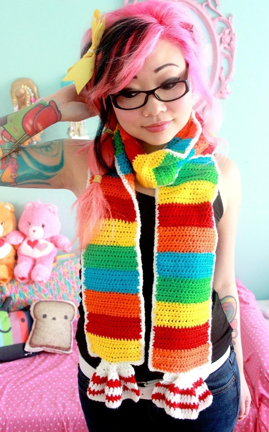 Rainbow Tart Candy Scarf 183 How To Knit Or Crochet A Stripy
