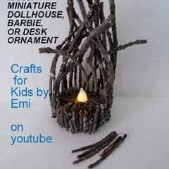 Miniature Dollhouse Twig Campfire, With A Battery Operated Tea Light