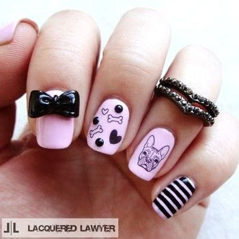 French Bulldog Nails .  Free tutorial with pictures on how to paint an animal nail in under 60 minutes by nail painting with black nail polish, nail polish, and decals. Inspired by french and dogs. How To posted by Lacquered Lawyer.  in the Beauty section Difficulty: Easy. Cost: Cheap. Steps: 5