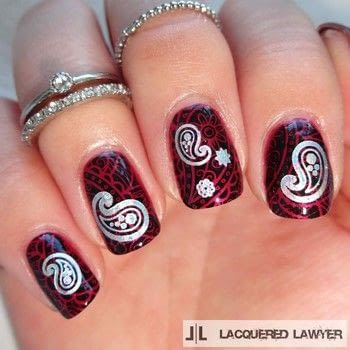 Paisley Stamped Nails .  Free tutorial with pictures on how to paint patterned nail art in under 45 minutes by nail painting with nail polish, stamping polish, and stamping plate. How To posted by Lacquered Lawyer.  in the Beauty section Difficulty: Simple. Cost: Cheap. Steps: 3