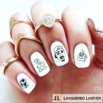 Easy Decal Nail Design .  Free tutorial with pictures on how to paint a character nail in under 40 minutes by nail painting with top coat nail polish, white nail polish, and decals. How To posted by Lacquered Lawyer.  in the Beauty section Difficulty: Easy. Cost: Cheap. Steps: 2