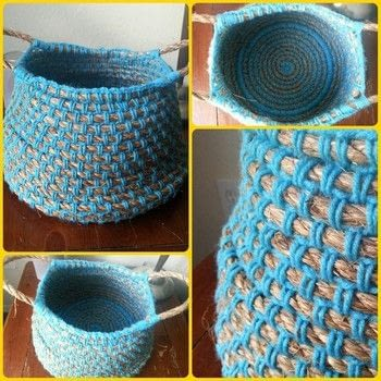 A basket case, basket virgin. .  Stitch a knit or crochet basket by yarncrafting and crocheting with yarn, hemp rope, and crochet hook. Inspired by organization and homeware. Creation posted by gypsie_jay.  in the Home + DIY section Difficulty: 3/5. Cost: 3/5.