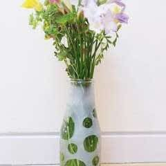 Etched Button Vase