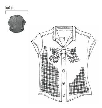 Stylish Remakes .  Free tutorial with pictures on how to make a bow top in under 60 minutes by sewing and dressmaking with shirt and brooch. How To posted by Tuttle Publishing.  in the Sewing section Difficulty: Simple. Cost: Cheap. Steps: 5