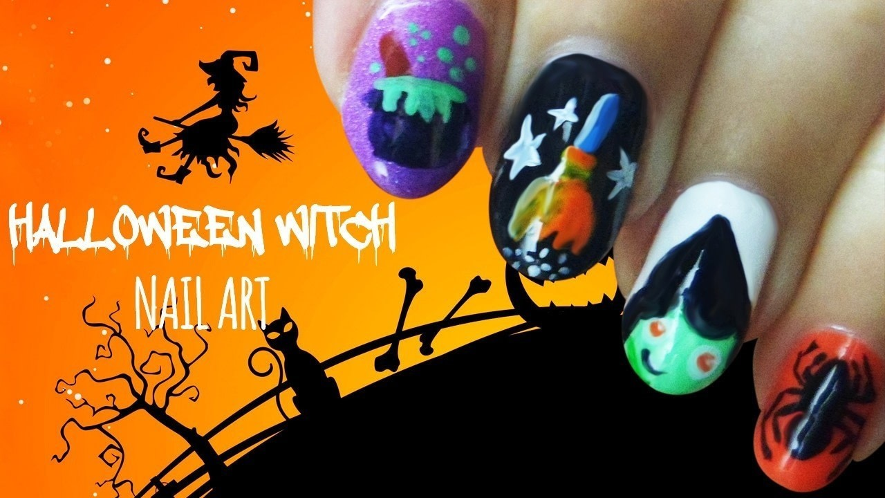 Halloween Witch Nail Art! · How To Paint A Horror Nail Manicure ...