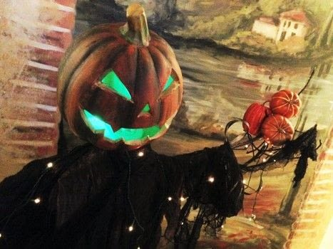 Create a Scarecrow with a Light-up Artificial Pumpkin .  Free tutorial with pictures on how to decorate a pumpkin in under 120 minutes using plastic pumpkin, spray paint, and acrylic paint. How To posted by BarryBelcher.  in the Home + DIY section Difficulty: Easy. Cost: Absolutley free. Steps: 17