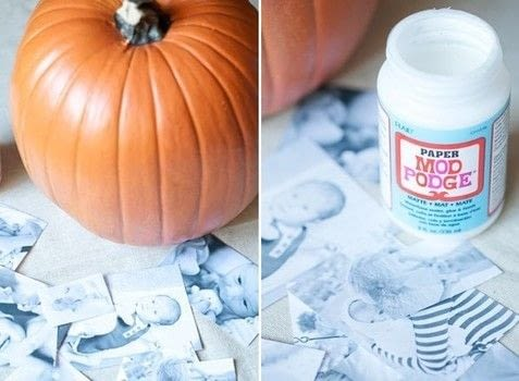 A great no-carve pumpkin craft! .  Free tutorial with pictures on how to decorate a pumpkin in 6 steps by decoupaging with paint brush, photographs, and pumpkin. Inspired by pumpkins. How To posted by Eden  P.  in the Decorating section Difficulty: Simple. Cost: Cheap.